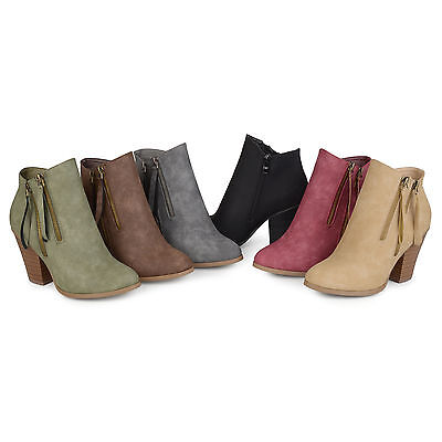Brinley Co Womens Faux Suede Stacked Wood Heel Double Zipper Booties New