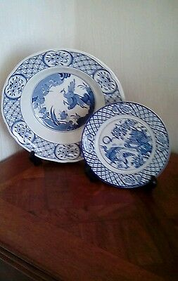 2x Antique blue/ white plates, Old Chelsea Furnivals +H and H and Co.VG cond.
