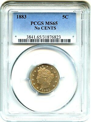 1883 5c PCGS MS65 (No Cents) Popular 1-Year Type Coin - Liberty V Nickel