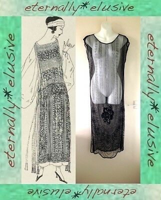 Genuine Original 1920s Antique French Vintage Beaded Over Dress Size S 8 10 12