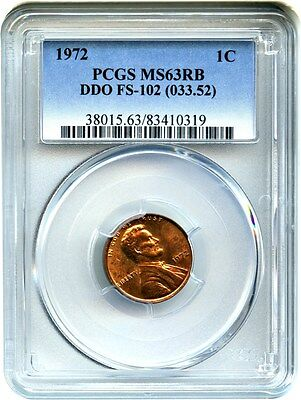 1972 1c PCGS MS63 RB (FS-102, DDO, 033.52) - Lincoln Cent