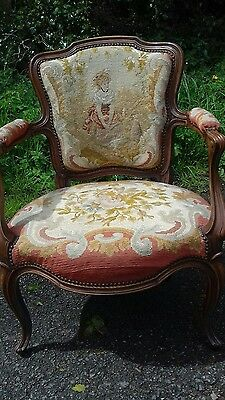 Antique French Tapestry Covered Fauteuil Chair From Callac Britanny