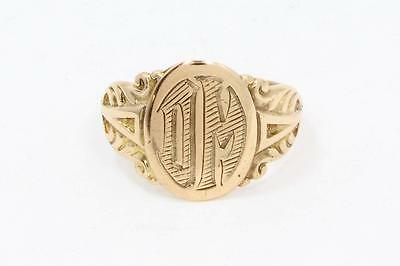Ostby & Barton Signed 10k Solid ROSE GOLD Antique Victorian Signet Ring Titanic