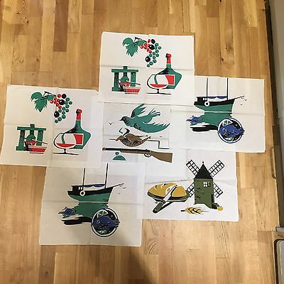 Set of 6 vintage c 50s fun novelty print fabric table mats French