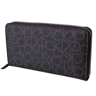 Calvin Klein Women's Zip Around Continental Wallet Ck Logo Monogram Brown 79468