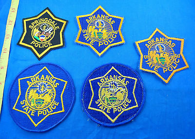 Old Springfield Police,  Arkansas State Police Ar Cloth Patch Lot Of 5