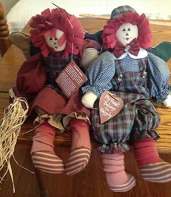 House Of Lloyd Raggedy Ann & Ronny Angel Dolls Cloth Shelf Sitter 1996