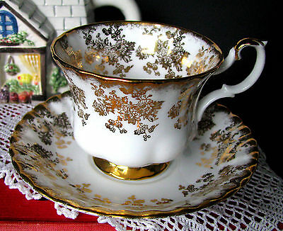 Royal Albert Gold & White Floral Chintz Teacup & Saucer Rare Tea Cup & Saucer