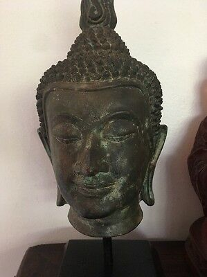 Old Thailand Bronze Buddha Head Religious Figure 1920s collection