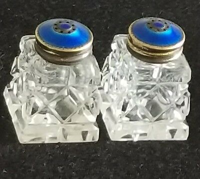Pair Salt & Pepper Shakers Guilloche Enamel Sterling Silver 925 Cobalt Blue Set