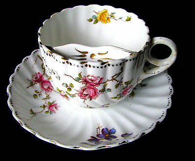 Moustache Tea Cup and Saucer Antique Victorian William Clark Teacup and Saucer