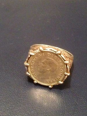 Silver Ring three pence Coin George VI c.1940