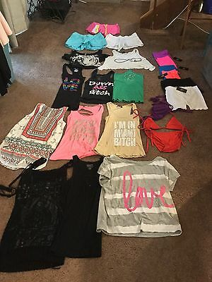 Lot of 22 pieces womens juniors size small /m shirts shorts summer clothes