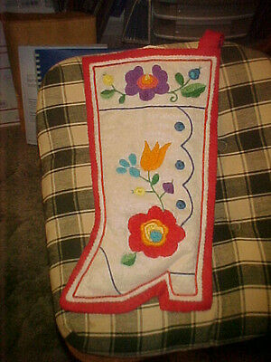 Christmas Stocking Vintage Large Felt Hand Craft Embroidered