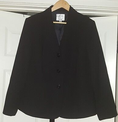 COLLECTIONS FOR LE SUIT Size 14W Solid Black Blazer Jacket Career Lined