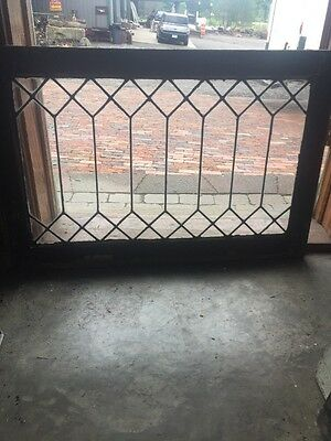 Sg 1493 Antique Geometric Leaded Glass Window 20 3H By 34.5