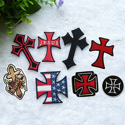Cross Embroidered Sew On Iron On Patch Badge Bags Clothes Fabric Applique Craft
