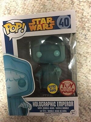Funko Pop Holographic Emperor Palpatine GITD Toywars Exc Limited Rare Retired