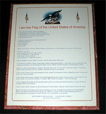 "U.S. Flag Plaque - ""I am the Flag of the United States of America"""