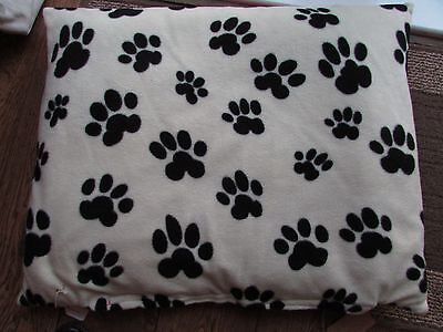Handmade Medium Size Pet Bed Cushion in off white Fleece Paw Print Red Reverse