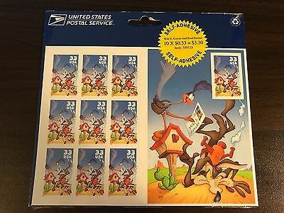 Wile E. Coyote & Road Runner Looney Tunes Sheet of 10 33-Cent Stamps, USPS