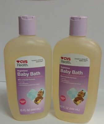2 PACK CVS Nighttime Baby Bath, 15 oz - Paraben Free = Johnson's Bedtime Bath