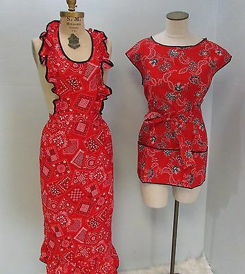 RH- lot 2 vintage bandanna red rockabilly pinafore bib country apron dress+ hat