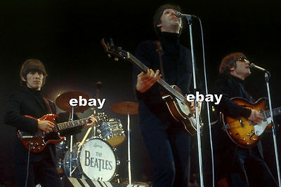 BEATLES 1966 w GIBSON SG HOFNER BASS EPIPHONE CASINO LUDWIG DRUMS NME SHOW PHOTO