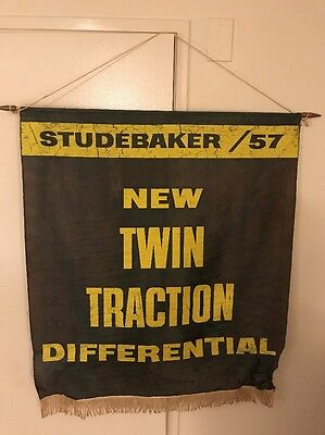 Vintage 1957 Studebaker Dealership Banner New Twin Traction Differential