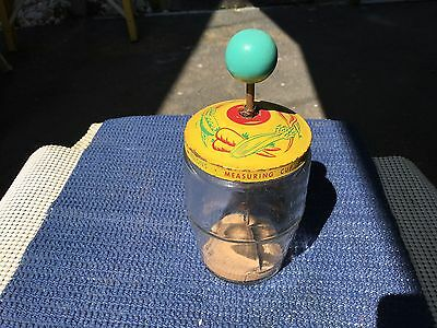 Vintage Vegetable Nut Chopper Blue Wood Knob Yellow Lid 14 Oz