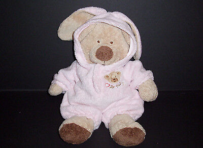 """12"""" Ty Pluffies Pink Love To Baby Bear Bunny Removable PJs 2005 Stuffed Animal"""