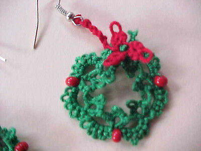 2 Sets Tatted Wreath Green Red Earrings 1 inch Christmas Dove Country Tatting
