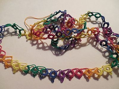 """Tatted  Lace Trim 14"""" Festive Colors Crazy Quilts Shuttle Tatting Dove Country"""