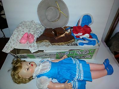 """VTG Little Miss Fashion Doll by Deluxe Reading Cowgirl 20"""" Complete with Box"""
