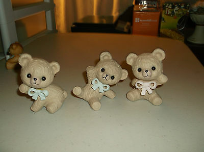 Set Of 3 Homco Poecelain Bear Figurines,Ann/Flip/Flop With Ribbons