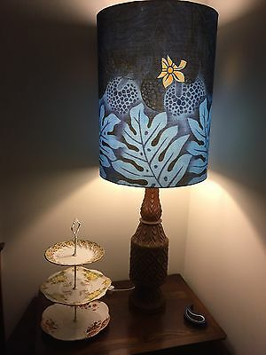 Vintage Retro Striking Balinese Carved Timber Table Lamp With New Shade