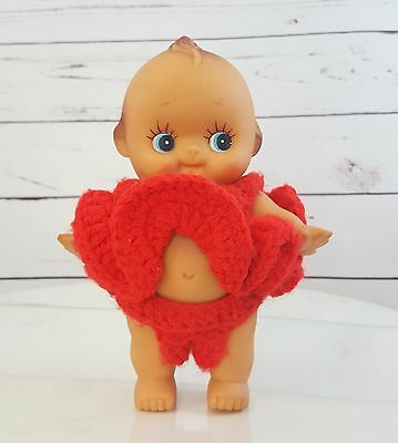 """Vintage Rubber Kewpie 8"""" Baby Doll with Red Crochet 2 Piece Outfit"""