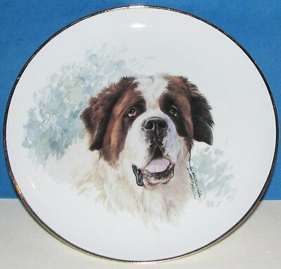 "Vintage 8"" Porcelain St.Bernard Dog Plate Gold Gilt Edge Monika Heller Cole"