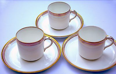 6pc Vintage China Coffee Set for 3, Tea Cups, Saucer White/ Gold/ Red