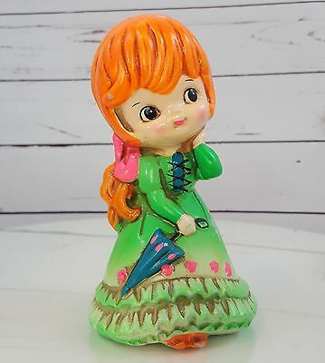 Holiday Fair Coin Bank Cute Chalk Ware Girl Vintage Bright Colors Japan Kitsch