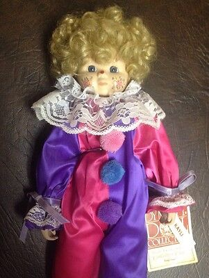 "14"" Porcelain Clown ""Kayli"" by Dynasty Doll Collection w/ Stand"