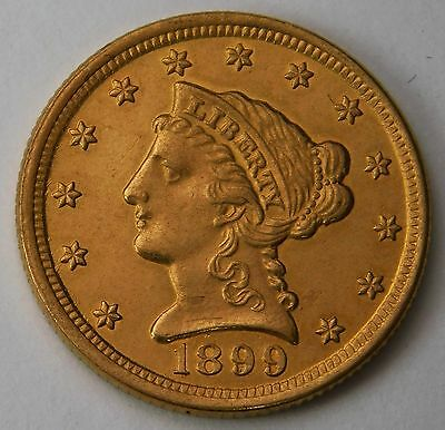 1899 $2.5 Liberty Head Gold Quarter Eagle Choice BU 449