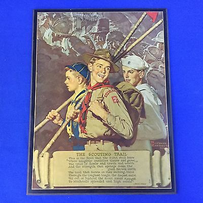 Boy Scout Norman Rockwell Wood Plaque The Scouting Trail