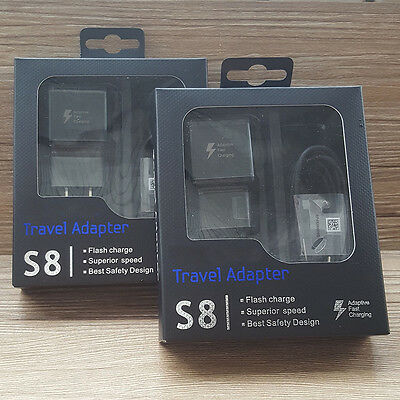 Black OEM Samsung Galaxy S8 S8 Plus USB Type-c Cable Fast Charging Wall Charger