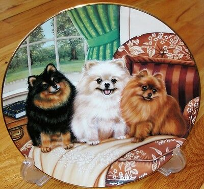 Danbury Mint Pomeranian THREE'S COMPANY Plate MINT + COA