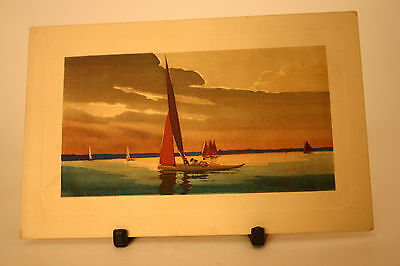 Quality Vintage Postcard Yachts on Still Water Sunset & Clouds Stunning Venice ?