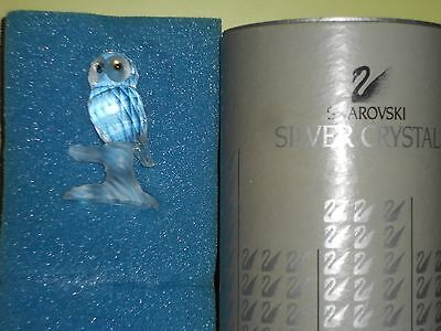 Swarovski Silver Crystal Owl On Branch Figurine 7621 Retired with box