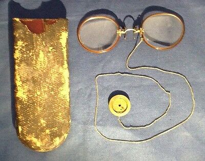 Antique GF gold fill Shur On Eyeglasses on chain