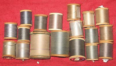 Vintage Sewing Thread on Wooden Spools-Various Shades of Gray & Beige-Lot of 18