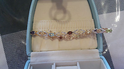 "18kt Gold-Plated Sterling Silver Diamond Accent Multi Gemstone 7.5"" Bracelet"
